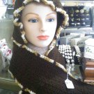Crocheted hat/hood scarf - brown - size medium
