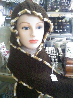 Crocheted hat/hood scarf - brown - size medium