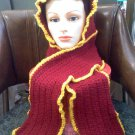 Hand Crocheted hat/hood scarf - burgundy and gold in medium