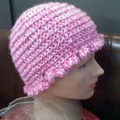 Hand crocheted hat small pinks and white - wear for fashion or for warmth