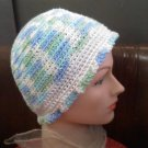 Hand crocheted hat blue/green/white- wear to hike, ski, skate, snowboard, walk