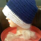 Hand crocheted hat blue and white- size is extra large