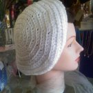 Hand Crocheted hat - white beret with a blue band