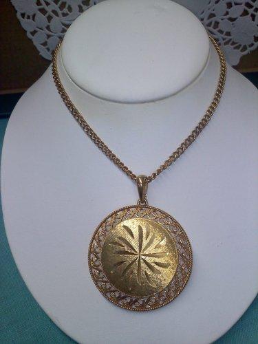 Caroline Emmons Goldtone Medallion vintage Necklace 1976