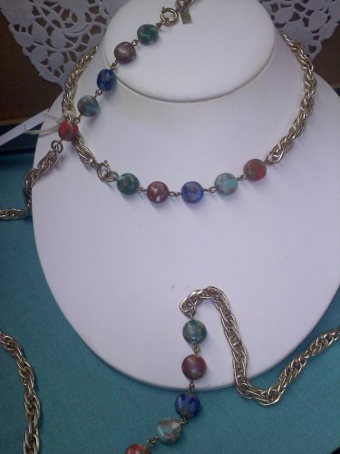 "Caroline Emmons Goldtone ""Candy Land"" simulated marble stone vintage Necklace - long"