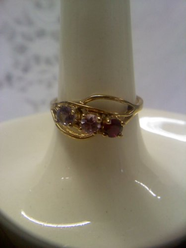 Jewelry store sample ring gemstones vintage gold plated swirl design sterling ring size 7