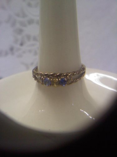 Jewelry store gemstone sample ring vintage gold plated rope design sterling ring size 8