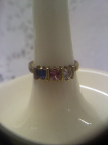 Jewelry store gemstone sample ring vintage gold plated sterling ring size 6