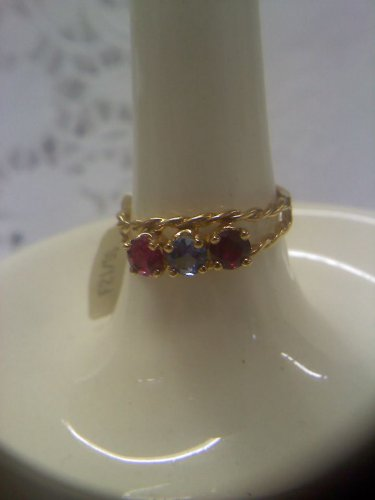 Jewelry store gemstone sample ring vintage gold plated sterling delicate rope design ring size 7
