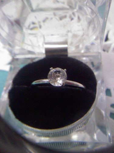 Jewelry store CZ diamond solitaire sample ring - vintage silvertone ring size 11.5