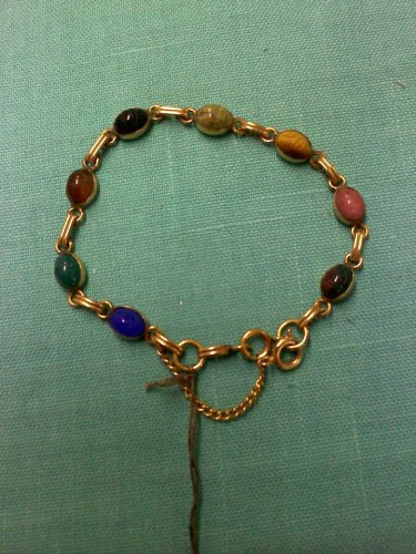 1950's 12k Gold Filled vinatge Egyptian revival faux Scarab link bracelet