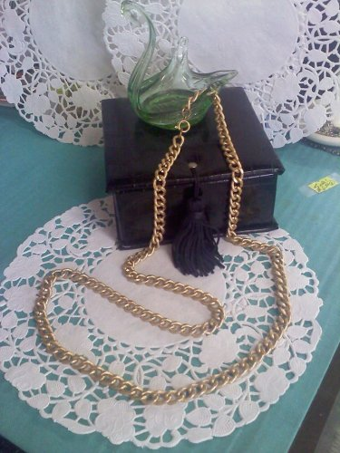 aluminum chain link necklace in textured goldtone vintage