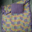 Hand crocheted Doll blanket in pastel purples multi with lavender pillow