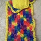 Hand crocheted Doll blanket in yellow multi with yellow pillow