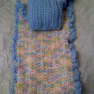 Hand crocheted Doll blanket in pastel blue multi with blue pillow