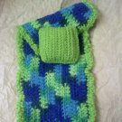 Hand crocheted Doll blanket in pastel green multi blues with green pillow