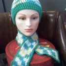 Hand crocheted hat and scarf teal/green/yellow/white in a size small