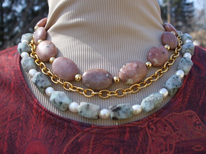 Multi-Stone and Pearl Necklace