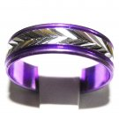 Purple Aluminum Ring - Silver Inlet - Size 6 1/2