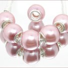 20 Pcs Light Pink Pearl Beads Acrylic Silver Core