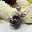 Purple Silver Frog Cats Eye Pendant Necklace