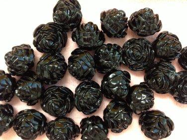 12mm Black Rose Flower Beads Destash 10 Beads