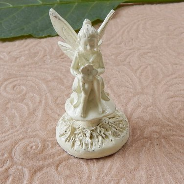 Mini Miniature Sitting Garden Fairy Pixie Figurine Ivory