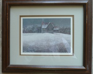 David Knowlton framed s/n print Snowy Evening