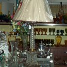 Crystal Lamp with Fringed Lampshade