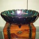 Pearlescent Blue Carnival Glass Fruit Bowl