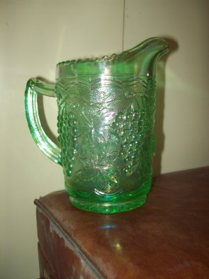 Green Carnival Glass Pitcher