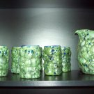 Green Grape Pitcher and Six Glasses