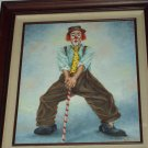 Clown Painting in Wood Frame