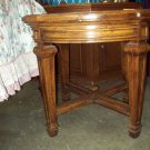 Round wood and glass top table
