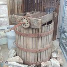 Grape press and barrel