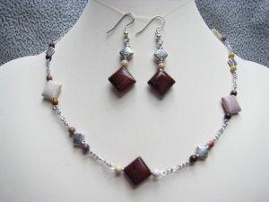 Moukaite Jasper Gemstone Squares Chain Necklace Ear Ring Set