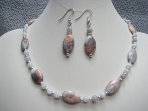 Red Spot Stone & Grey Quartz Necklace & Ear Ring set