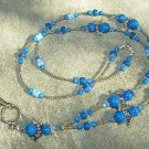 Blue Fossil Gemstones Aqua Crystals Blue & White Cats Eye bead Angel Lanyard with Silver Toggle
