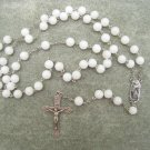 White Marble Stone Rosary Our Lady of Guadalupe center 8mm beads