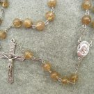 Coffee Quartz Glass Rosary Italian Crucifix 8mm beads