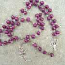 Plum Fossil Gemstone Beaded Rosary Silver Trinity Crucifix 8mm beads