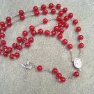 Red Agate Gemstone Rosary Trinity Crucifix Centerpiece from Jerusalem containing soil 8mm beads