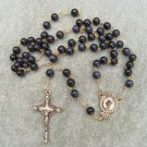 Blue Goldstone Glass Rosary Pearl of Mary Crucifix with Pearls & White Epoxy 8mm beads