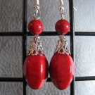Red Fossil Gemstone Dangle Ear Rings