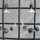 Larvikite Gemstone and Crystal Dangle Hoop Ear Rings