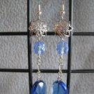 Vintage Style London Blue Quartz Blue Crystal Dangle Ear Rings