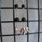 Black Onyx Silver Elephant Dangle Ear Rings
