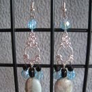 Vintage Style Aqua Terra Jasper Black Agate Aqua Black Crystal Dangle Ear Rings