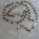 Smoky Faceted Crystal Rosary 8mm beads