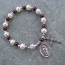 Czech Cream & Burgundy Pearl Glass Roasry Bracelet with Our Lady of Guadalupe Medal